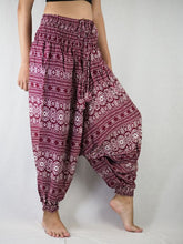 Load image into Gallery viewer, Hilltribe Strip Unisex Aladdin drop crotch pants in Red PP0056 020049 04