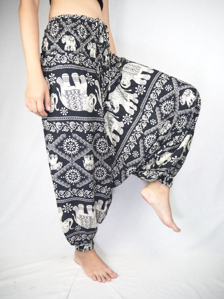 Imperial Elephant Unisex Aladdin drop crotch pants in Black PP0056 020005 05
