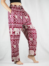 Load image into Gallery viewer, Imperial Elephant Unisex Drawstring Genie Pants in Red PP0110 020005 04