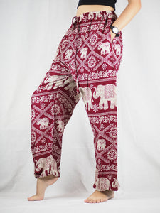 Imperial Elephant Unisex Drawstring Genie Pants in Red PP0110 020005 04