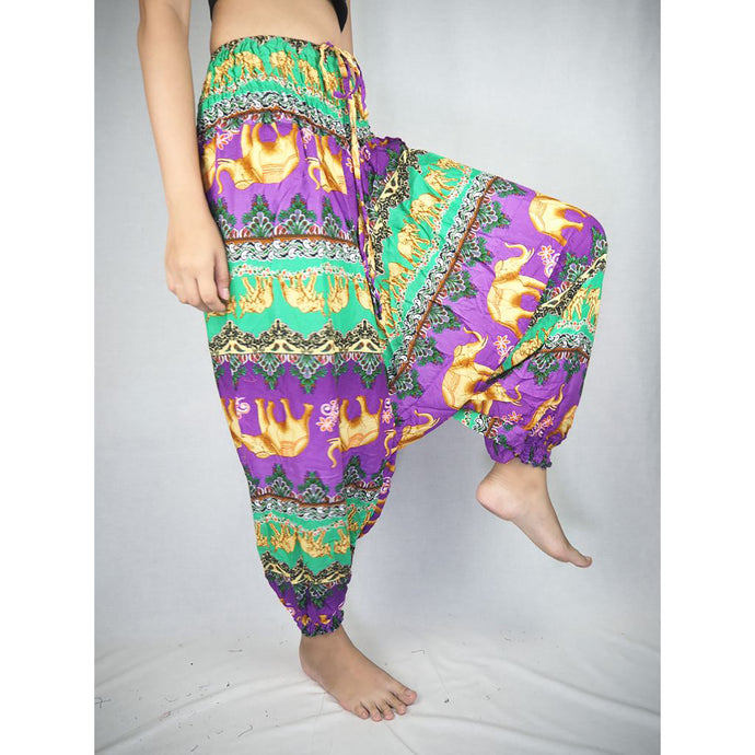 Indian elephant  Unisex Aladdin drop crotch pants in Purple PP0056 020056 04