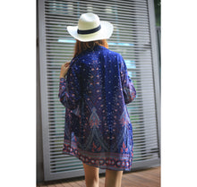 Load image into Gallery viewer, Peacock Women Kimono in Navy Blue JK0020 020007 05