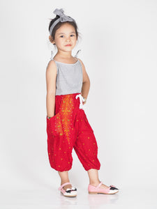Peacock Unisex Kid Drawstring Genie Pants in Red PP0110 020008 05
