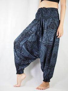 Monotone Mandala Unisex Aladdin drop crotch pants in Black PP0056 020031 05