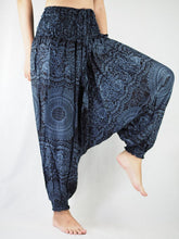 Load image into Gallery viewer, Monotone Mandala Unisex Aladdin drop crotch pants in Black PP0056 020031 05