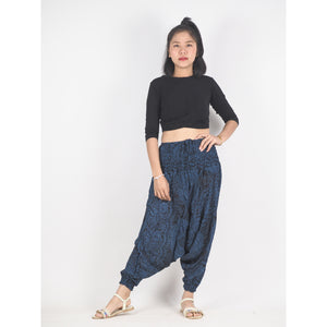 Monotone Mandala Unisex Aladdin drop crotch pants in Navy PP0056 020031 02