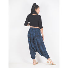 Load image into Gallery viewer, Monotone Mandala Unisex Aladdin drop crotch pants in Navy PP0056 020031 02
