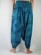 Load image into Gallery viewer, Monotone Mandala  Unisex Aladdin drop crotch pants in Ocean Blue PP0056 020031 06