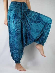 Monotone Mandala  Unisex Aladdin drop crotch pants in Ocean Blue PP0056 020031 06