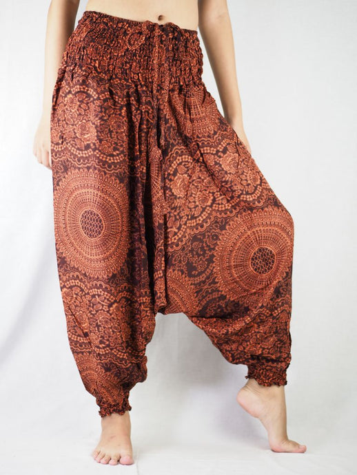 Monotone Mandala  Unisex Aladdin drop crotch pants in Orange PP0056 020031 03