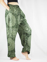 Load image into Gallery viewer, Monotone Mandala Unisex Drawstring Genie Pants in Green PP0110 020031 04