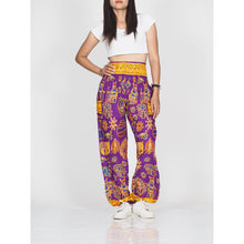 Load image into Gallery viewer, Cartoon elephant 61 women harem pants in Purple PP0004 020061 02