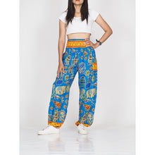 Load image into Gallery viewer, Cartoon elephant 61 women harem pants in Blue PP0004 020061 04