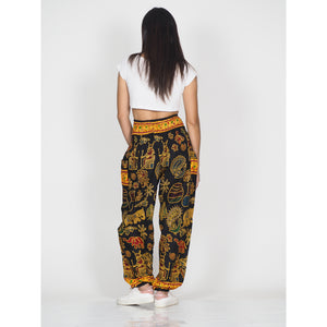 Cartoon elephant 61 women harem pants in Black PP0004 020061 05
