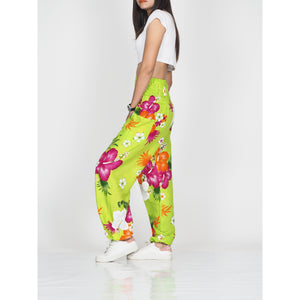 Painted flower 62 women harem pants in Green PP0004 020062 02