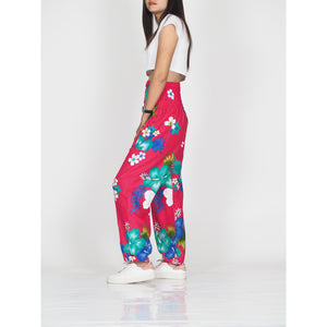 Painted flower 62 women harem pants in Pink PP0004 020062 05
