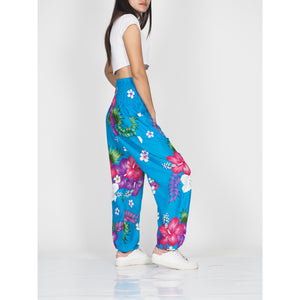 Painted flower 62 women harem pants in Blue PP0004 020062 03