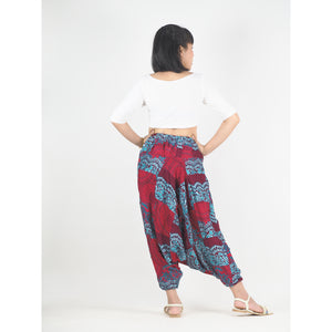 Patchwork Unisex Aladdin Drop Crotch Pants in Red PP0310 028000 12