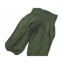 Load image into Gallery viewer, Solid color Elephant Unisex Kid Harem Pants in Olive PP0004 020000 13