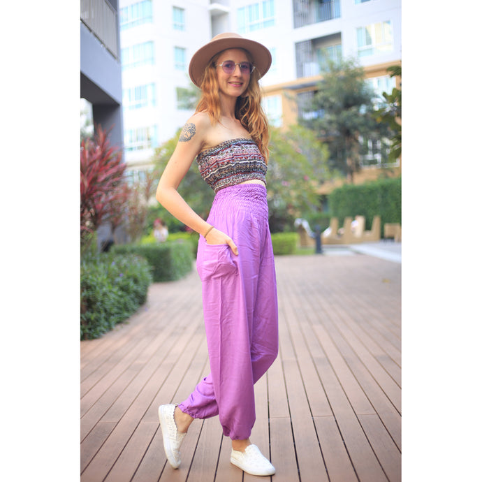 Solid color women harem pants in Magenta PP0004 020000 18