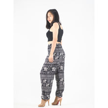 Load image into Gallery viewer, African Elephant 4 women harem pants in Black PP0004 020004 01