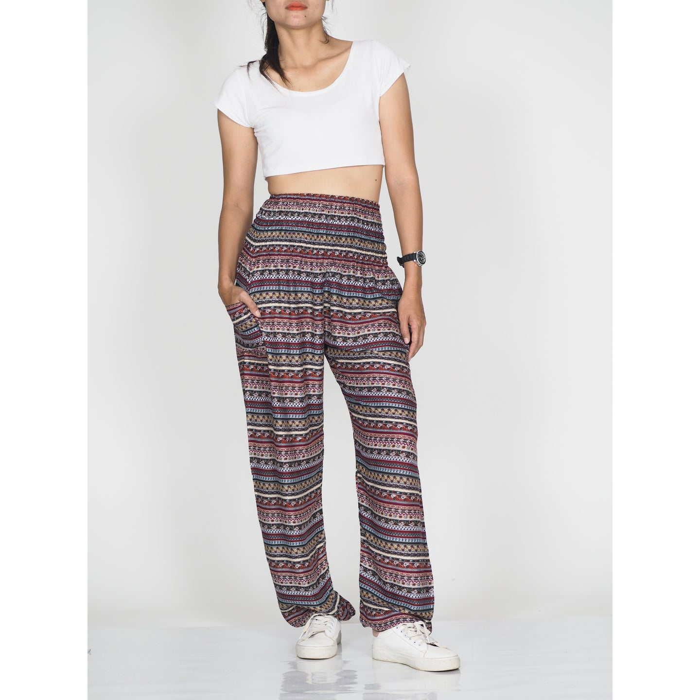 Colorful Stripes 6 women harem pants in Dark Brown PP0004 020006 05