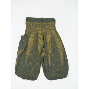 Peacock Feather Dream Unisex Kid Harem Pants in Green PP0004 020015 10