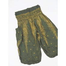 Load image into Gallery viewer, Peacock Feather Dream Unisex Kid Harem Pants in Green PP0004 020015 10