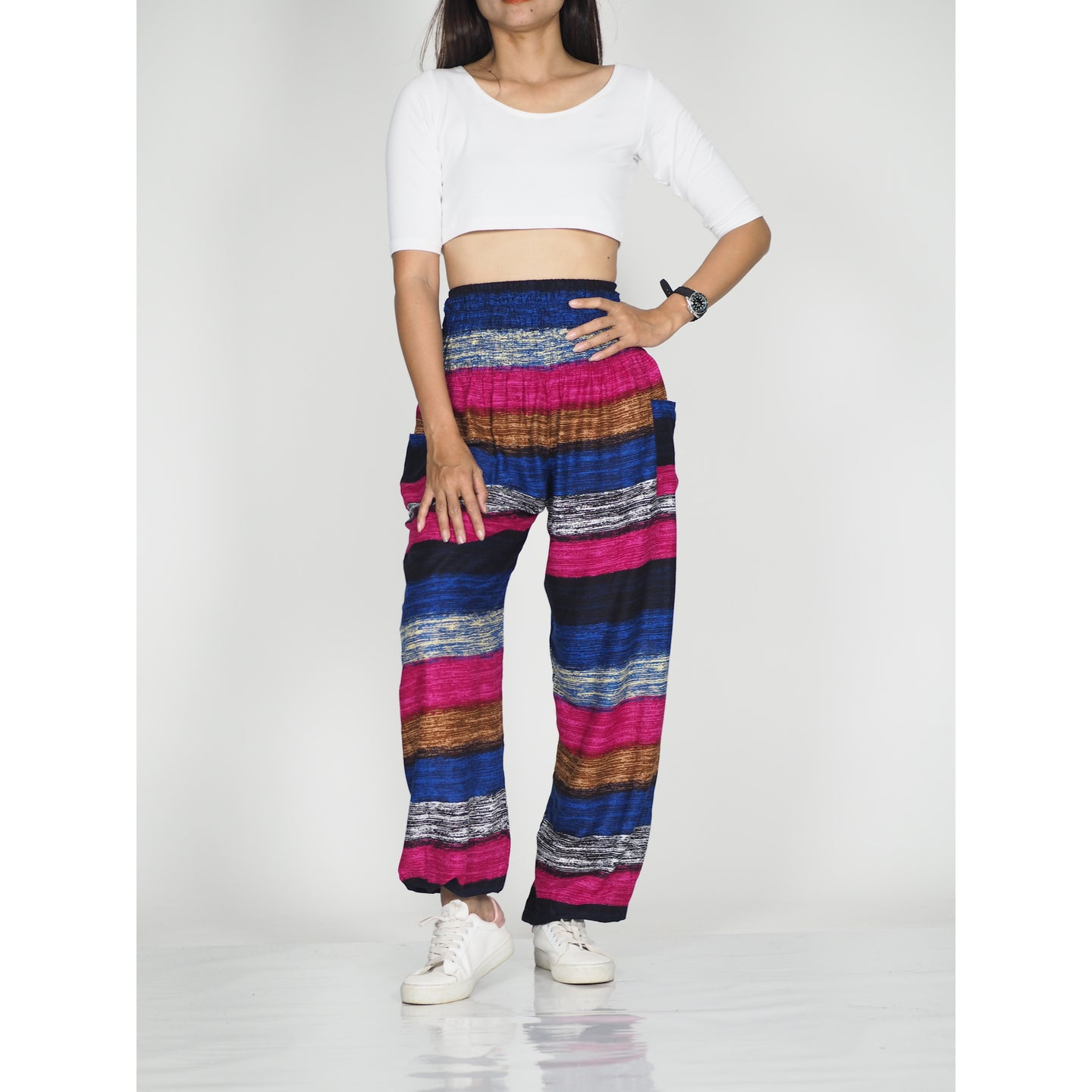 Funny Stripe 21 women harem pants in Black PP0004 020021 01