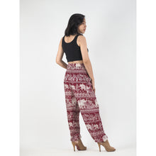 Load image into Gallery viewer, Paisley elephants 22 women harem pants in Dark Red PP0004 020022 02