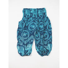 Load image into Gallery viewer, Elephant Circles Unisex Kid Harem Pants in Ocean Blue PP0004 020051 02
