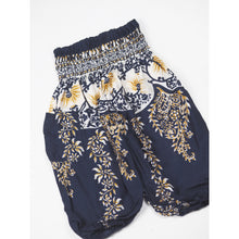 Load image into Gallery viewer, Flower Chain Unisex Kid Harem Pants in Navy PP0004 020064 02