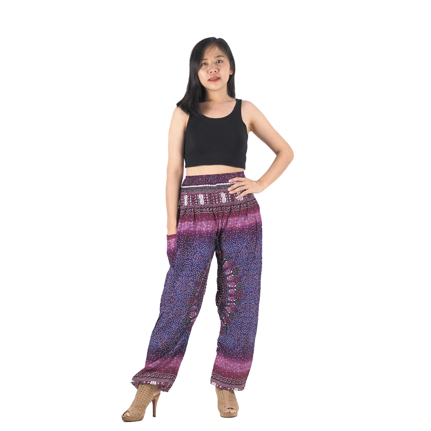 Tribal dashiki womens harem pants in Purple PP0004 020066 06