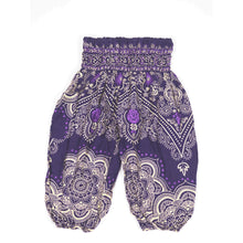 Load image into Gallery viewer, Temple Flower Unisex Kid Harem Pants in Purple PP0004 020159 05