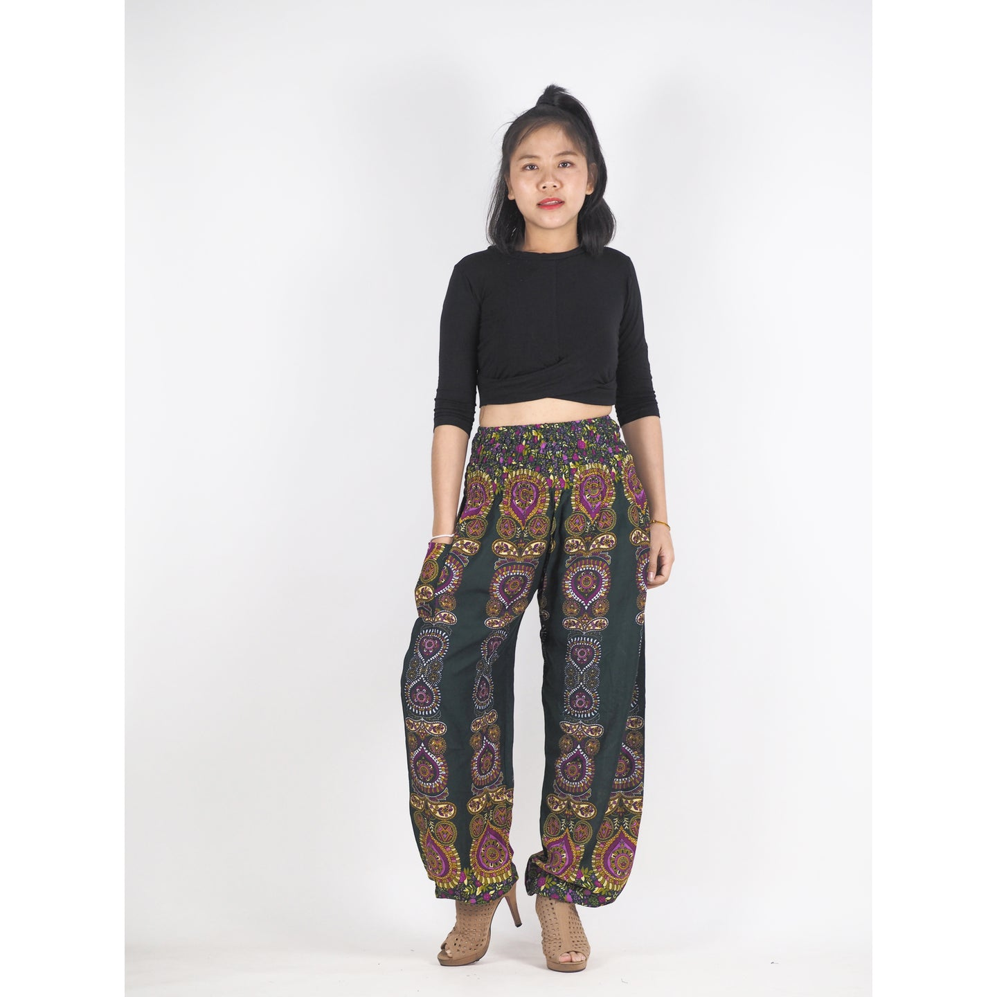 Love stripe 188 women harem pants in Green PP0004 020188 04