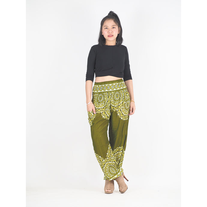 Stained Glass Mandala 214 women harem pants in Olive PP0004 020214 02