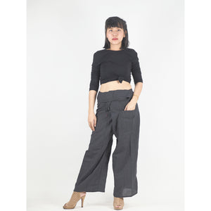 Solid color Unisex Fisherman Yoga Long Pants in Black PP0007 010000 10