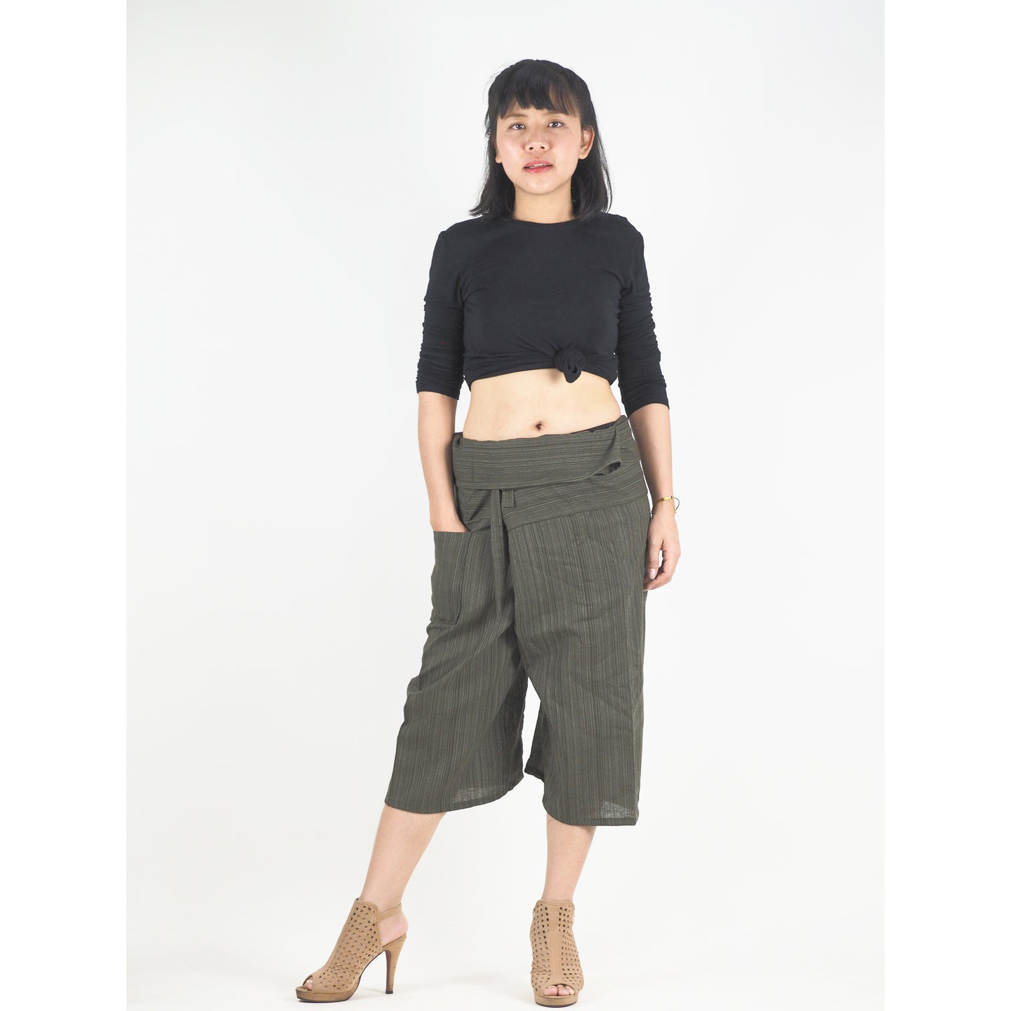 Solid color Unisex Fisherman Yoga Shorts Pants in Olive PP0027 010000 13