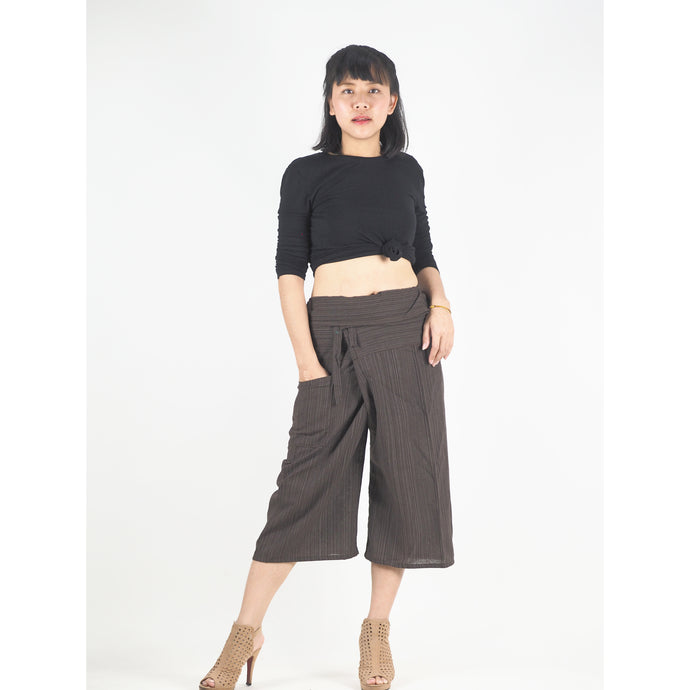 Solid color Unisex Fisherman Yoga Shorts Pants in Dark Brown PP0027 010000 16