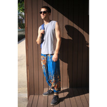Load image into Gallery viewer, Floral Royal Unisex Aladdin drop crotch pants in Ocean PP0056 020010 07