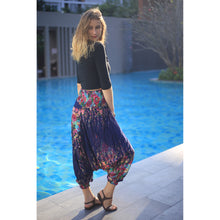 Load image into Gallery viewer, Floral Royal Unisex Aladdin drop crotch pants in Navy PP0056 020010 08