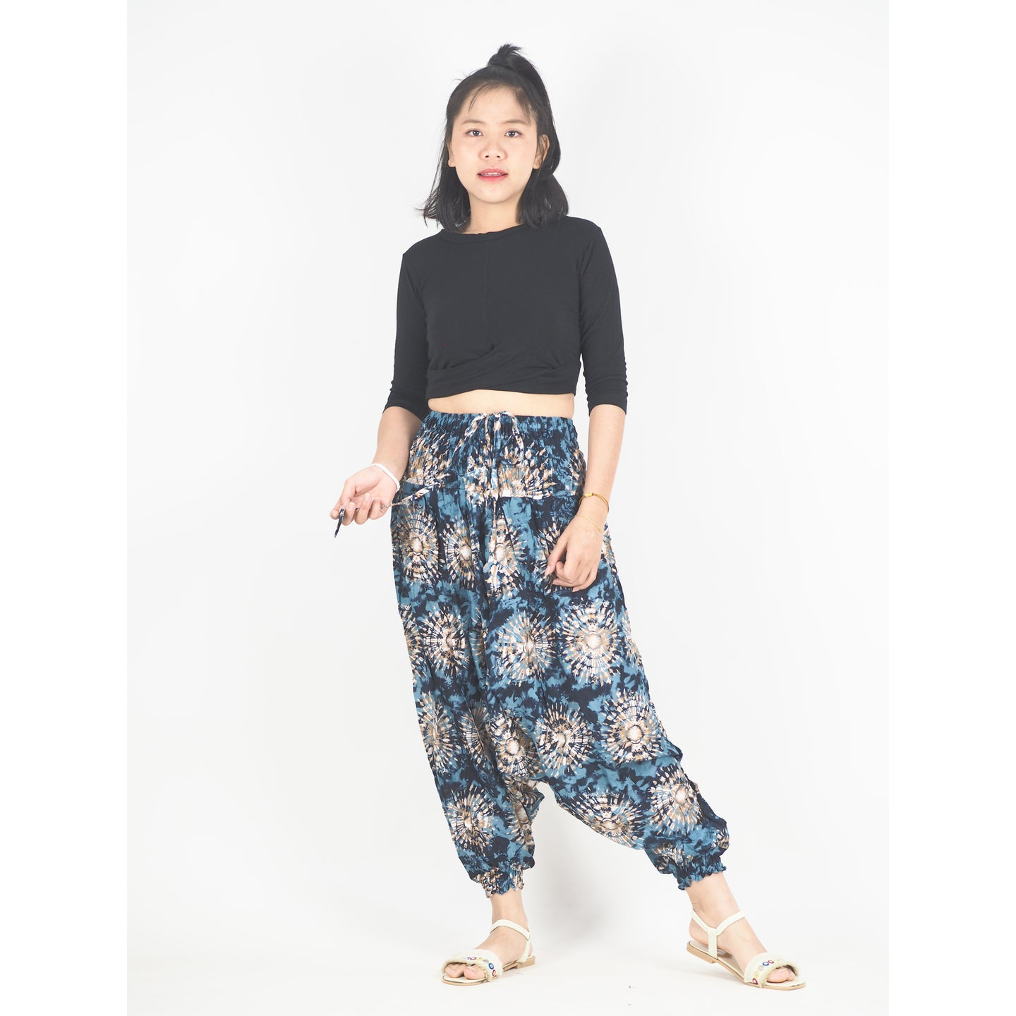 Tie Dye Unisex Aladdin Drop Crotch Pants in Black PP0056 020039 06