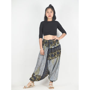 Large Paisley Unisex Aladdin drop crotch pants in White PP0056 020124 04
