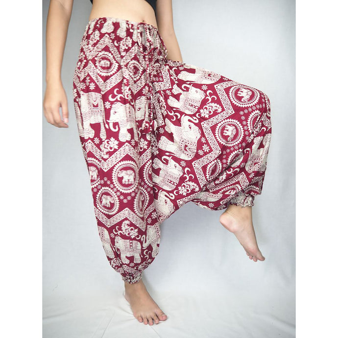 Buddha Elephant Unisex Aladdin drop crotch pants in Red PP0056 020009 06