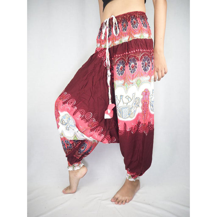 Solid Top Elephant Unisex Aladdin drop crotch pants in Bright Red PP0056 020018 05