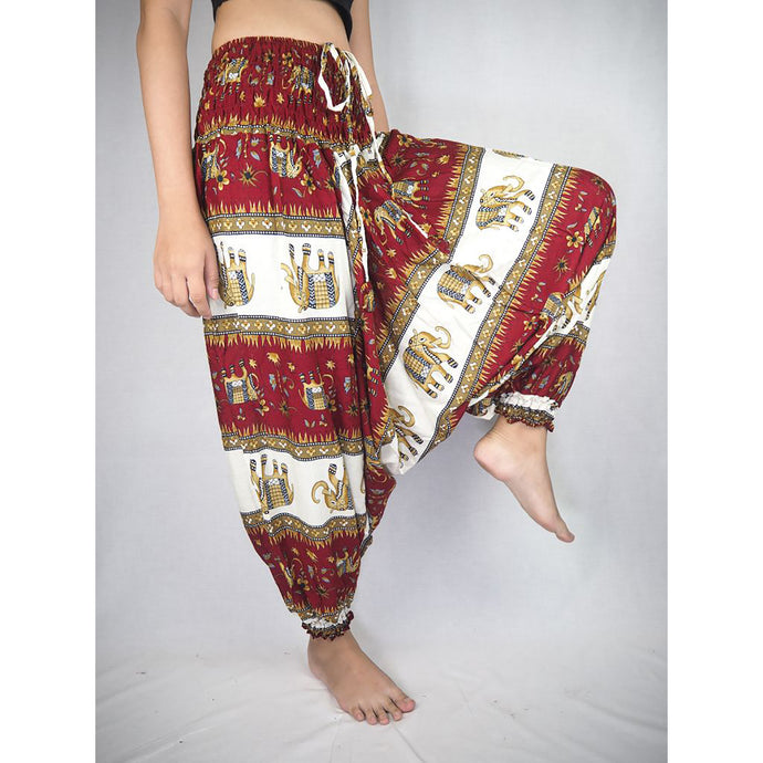 Royal Elephant Unisex Aladdin drop crotch pants in Dark Red PP0056 020024 04