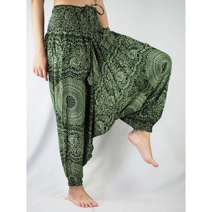 Monotone Mandala  Unisex Aladdin drop crotch pants in Green PP0056 020031 04