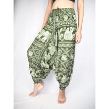 Load image into Gallery viewer, Elephant classic  Unisex Aladdin drop crotch pants in Green PP0056 020029 04