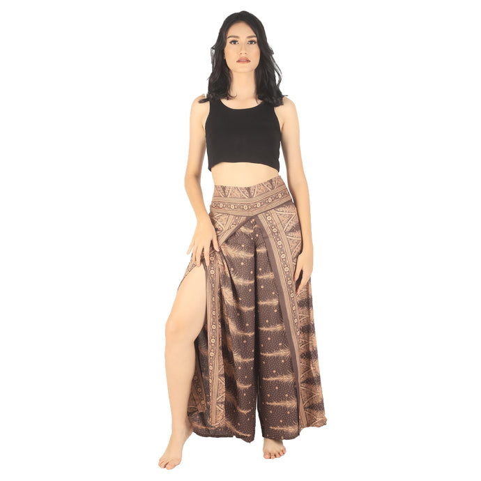 Peacock Feather Dream Women Palazzo Pants in Brown PP0076 020015 08