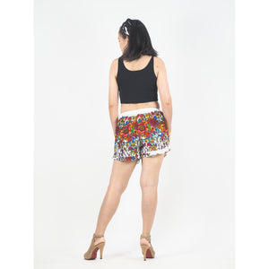Floral Royal Women's Shorts Pants in White Rose PP0107 020010 11
